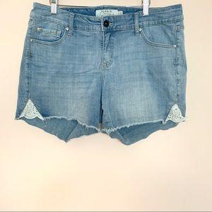 Torrid Denim Cut Off Lace Detail Jean Shorts